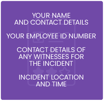 name contact employee id witness location time